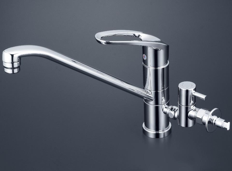【KM5041ZCTTU】流し台用シングルレバー混合栓 回転分岐孔付(給水)とめるゾウ付