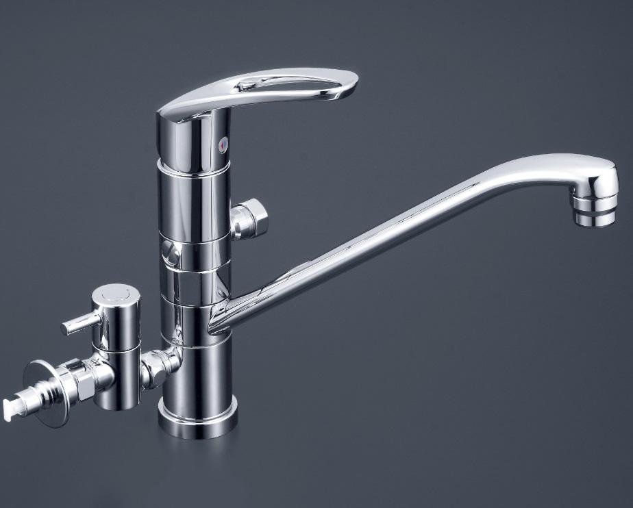 【KM5041CTTU2】流し台用シングルレバー式混合栓(水側360°回転分岐孔付) とめるゾウ+湯水固定分岐孔付