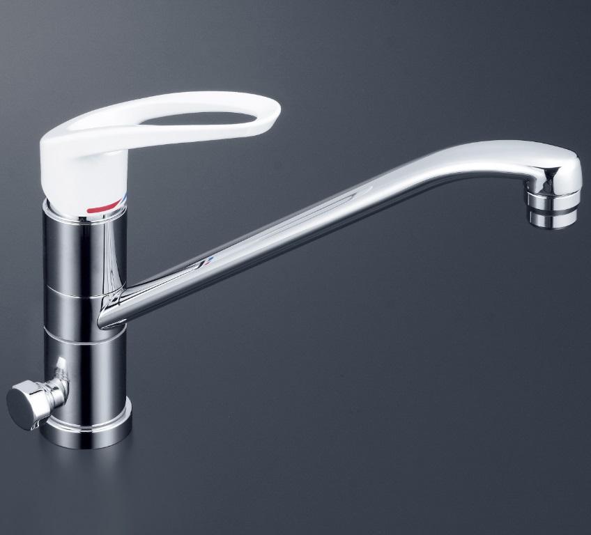 【KM5041ZH】流し台用シングルレバー混合栓 回転分岐孔付(給湯)