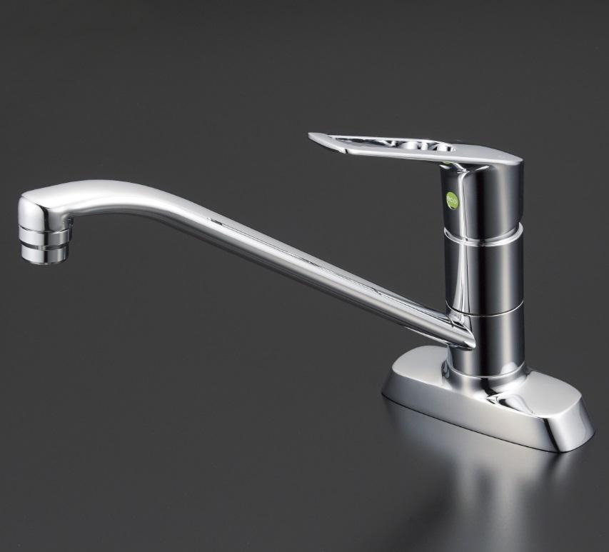 【KM5081TV8E】流し台用シングルレバー式混合栓・吐水口回転規制80度(eレバー)