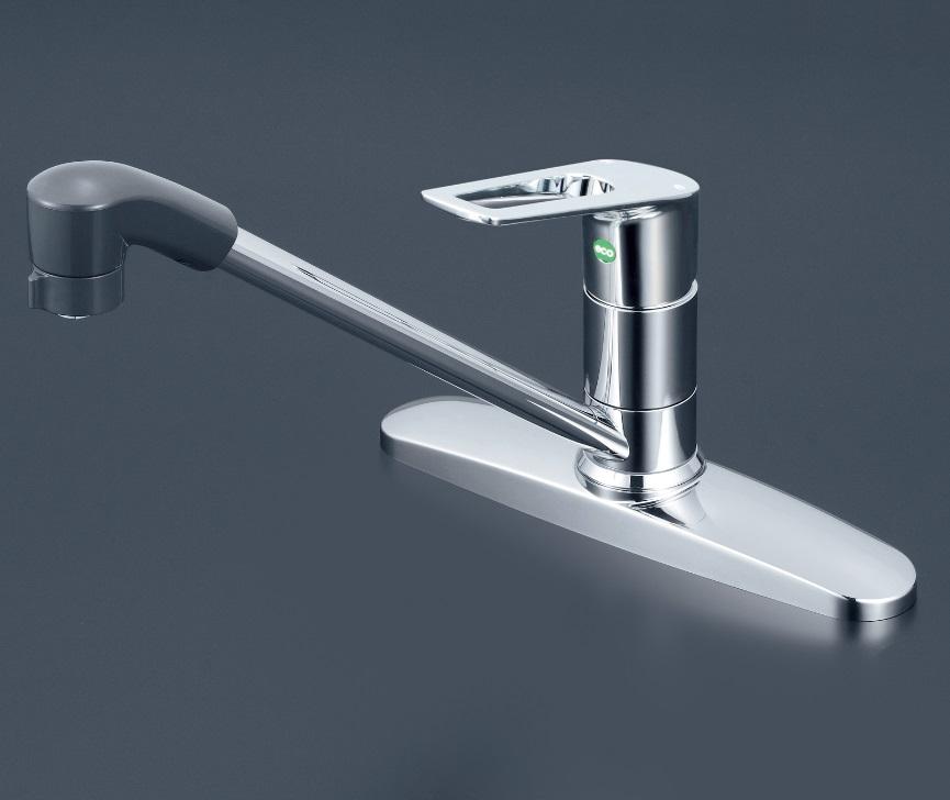 【KM5091ZTFEC】流し台用シングルレバー式シャワー付混合栓 シャワー固定式 eレバー