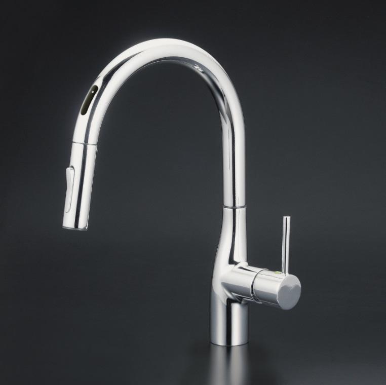 【KM6071EC】流し台用シングルレバー式シャワー付混合栓(センサー付)