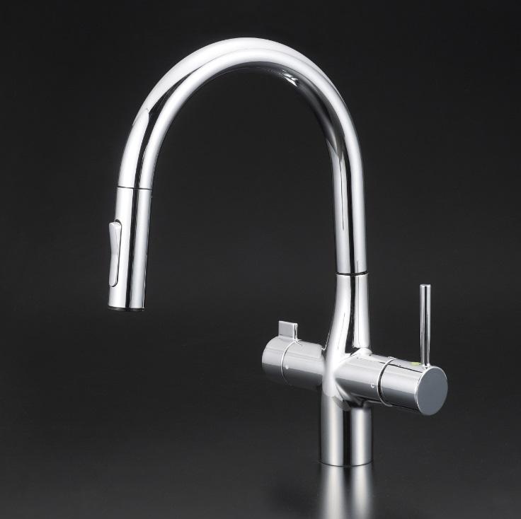 【KM6081EC】浄水器専用シングルレバー式シャワー付混合栓