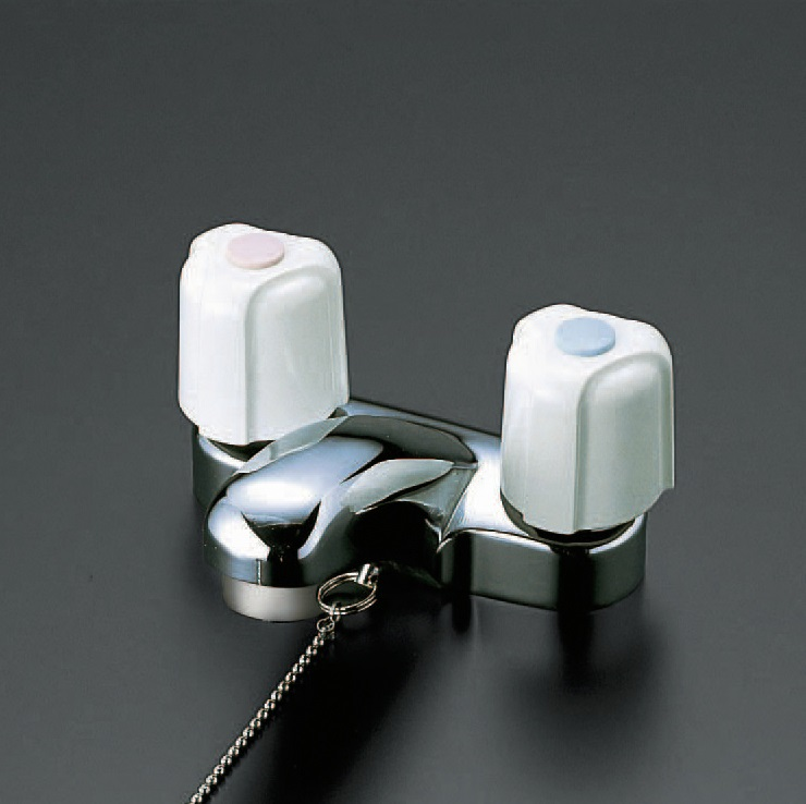 【KM66ZG】洗面用2ハンドル混合栓ゴム栓付ビス止