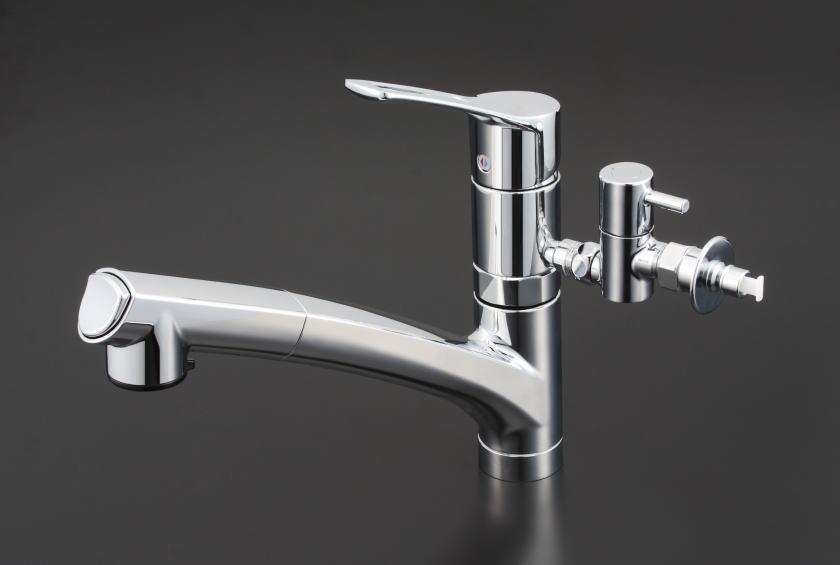 独創的 【KM5021TTU】流し台用シングルレバー式シャワー付混合栓:KVK AQUA SHOP-木材・建築資材・設備