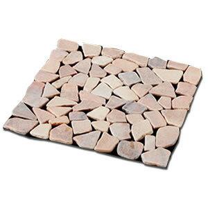 【おしゃれな天然石マット6枚組 ピンク×5セット】 庭 敷石