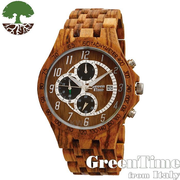 グリーンタイム 【GreenTime スポーツ ZW070C】 メンズ 木製 腕時計 ゼブラウッド 【正規輸入品】 「FSC認証」