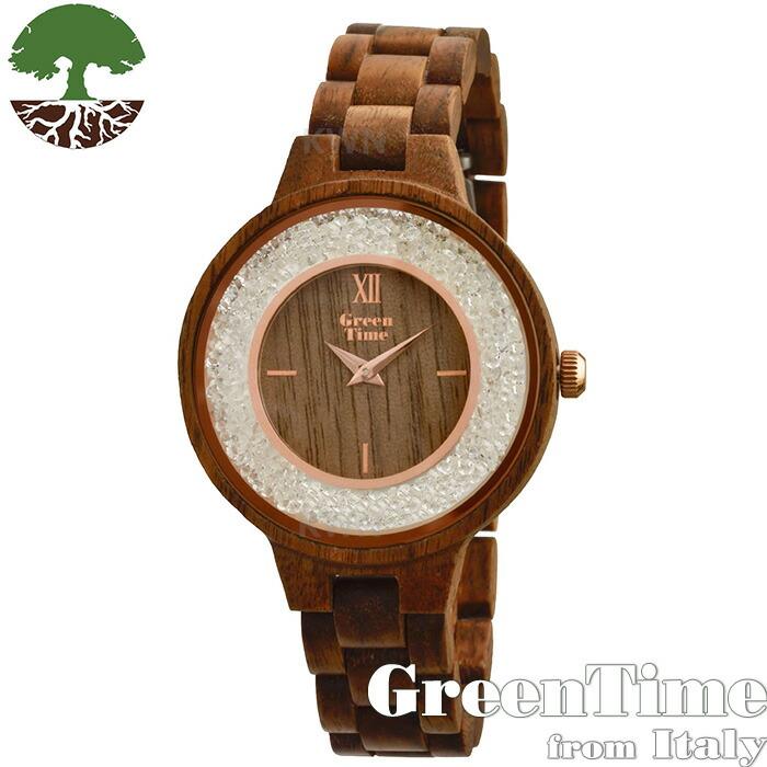 グリーンタイム 【GreenTime Strass ZW082A】 レディース 木製 腕時計 サンダルウッド 【正規輸入品】 「FSC認証」