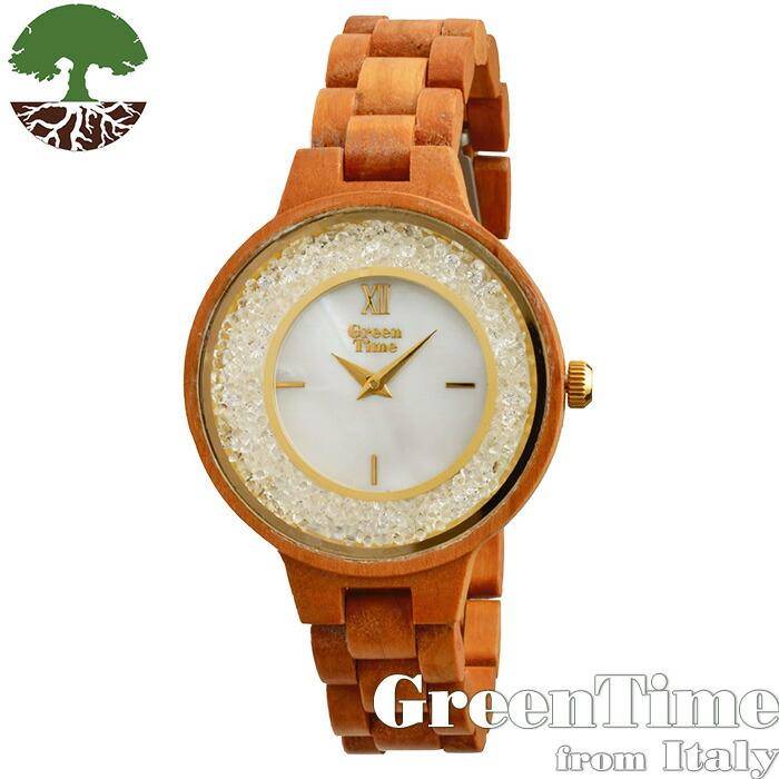 グリーンタイム 【GreenTime Strass ZW082B】 レディース 木製 腕時計 チェリー 【正規輸入品】 「FSC認証」