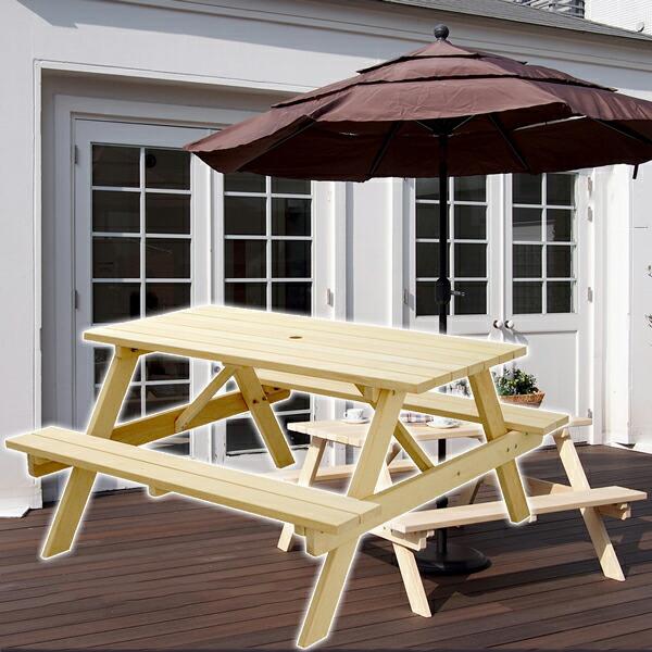 【イエローシダー ピクニックテーブル】アウトドア キャンプ ベンチ 木製
