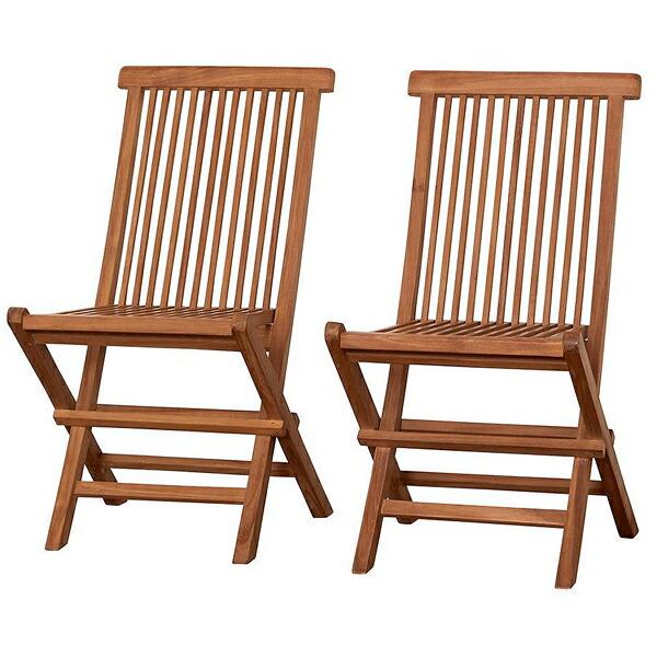 【チーク材 折りたたみ式 チェア2脚組】天然木 椅子 ※代引不可