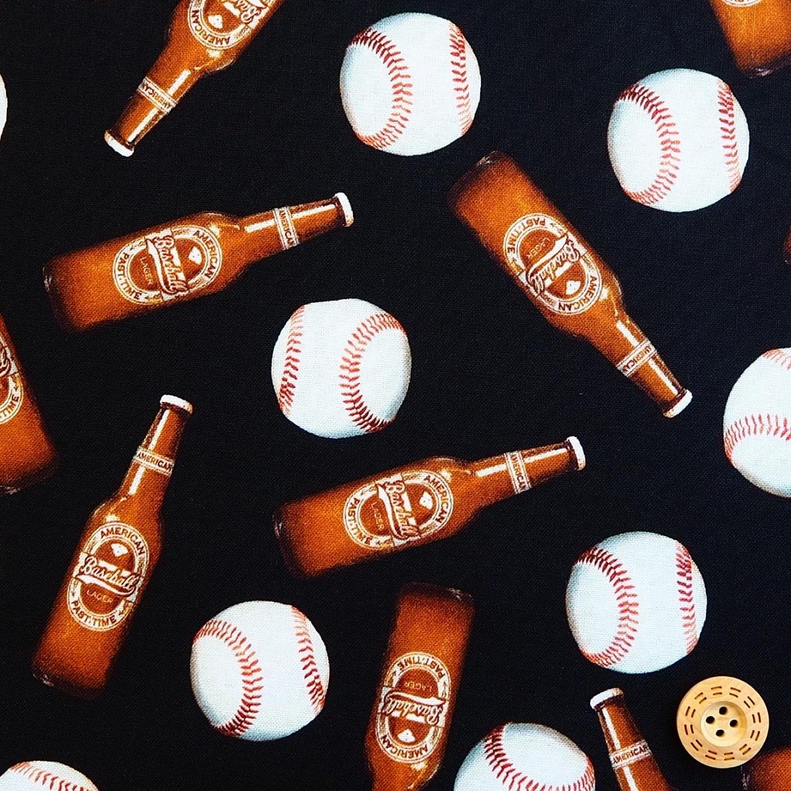 <title>USAコットン 生地 布 ベースボール ビア One of a Kind ワン オブ ア カインド WINDAHM FABRICS ウィンダムファブリックス 輸入 50276D-X 正規品 個性的 野球ボールと瓶ビール 商用利用可能</title>