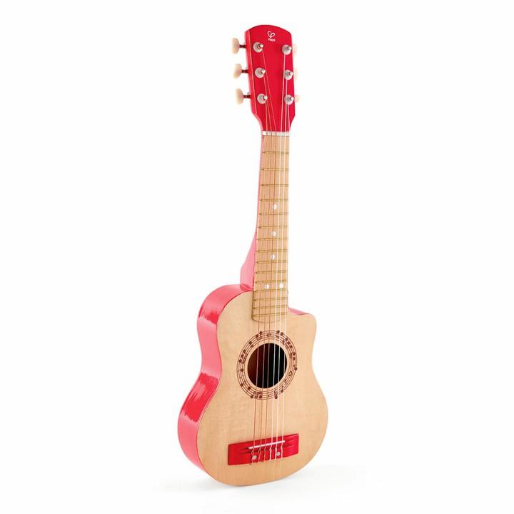 ハペ マイファーストギター(赤) E0602おもちゃ Hape 知育玩具 幼児 こども プレゼント 木製 楽器 ギター カワダ 【D】
