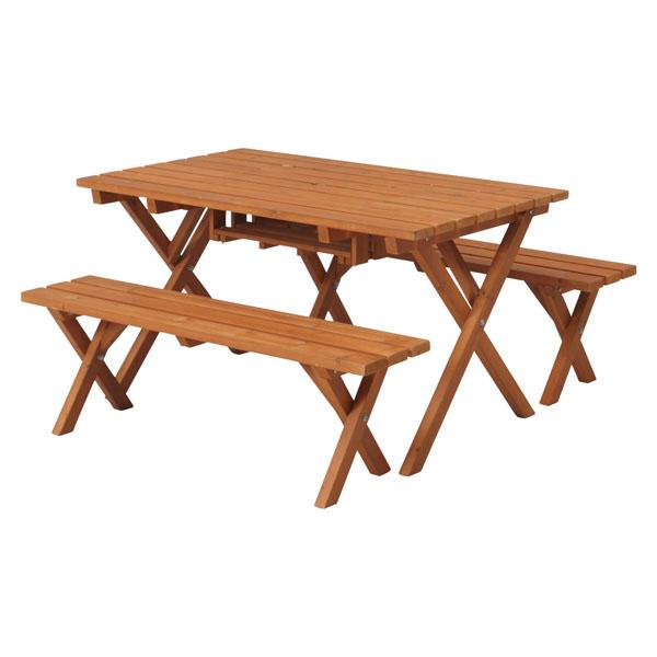 【送料無料】BBQテーブル&ベンチ(コンロスペース付き)SD09-1032BR 81761【FB】【TC】