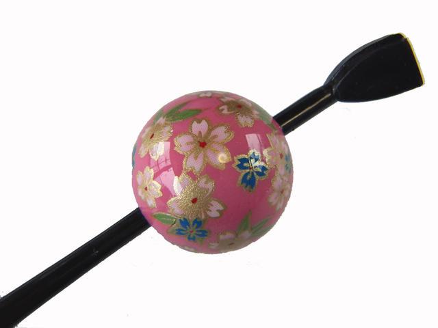 Cool Japan 日本製 京の玉かんざし 蒔絵タイプ テレビで話題 小桜 玉簪 [正規販売店] 桃