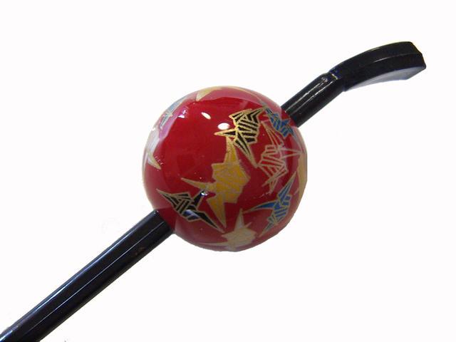 超激安特価 Cool Japan 日本製 ランキング総合1位 京の玉かんざし 蒔絵タイプ 赤 折鶴 玉簪
