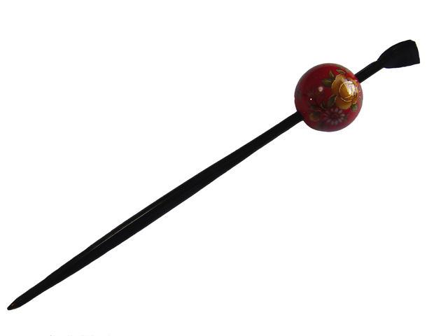 Beijing Jade Hairpin (lacquer type, Jade Hairpin) Red / Kiku, rose ★ kuroneko non ★