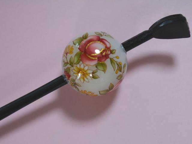 Cool Japan 激安超特価 日本製 京の玉かんざし 蒔絵タイプ バーゲンセール 玉簪 薔薇 白 菊