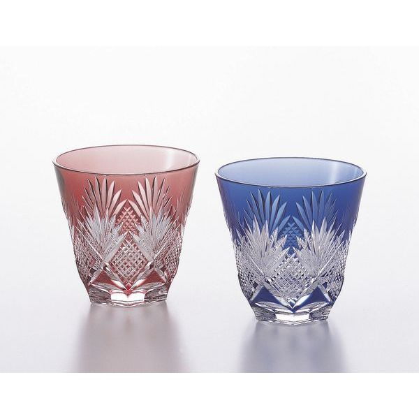 カガミクリスタル ペア冷酒杯(斜十文字に矢来笹紋)