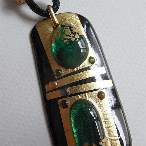 七宝焼き  ペンダントネックレス 金星からの贈り物(緑)