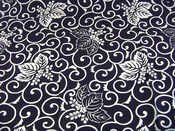 特製ブロード綿・・日本製 風呂敷(ふろしき)伝統の柄・桐唐草風呂敷大判(紺地・二四巾:90×90cm)