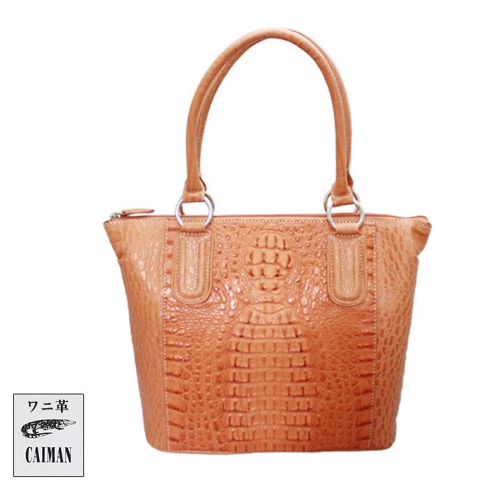 【セール品】カイマン [1992 キャメル] クロコホーンハンドバッグ ワニ バッグ 本革 高級 上質