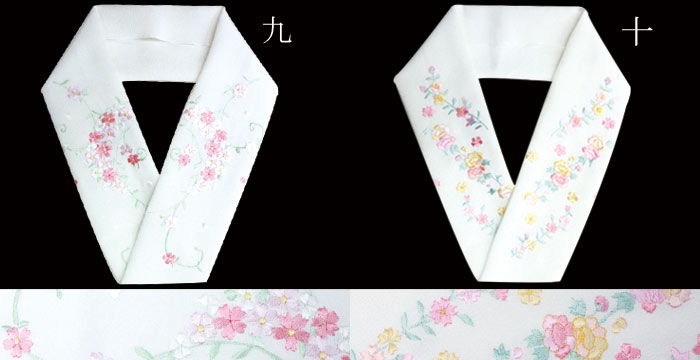 【メール便対応可能】光沢が有り、しなやか。襟元がちらりと光る♪ 白地 刺繍半衿 半襟/半エリ/はんえり/ししゅう/きもの/着物/和装/長襦袢