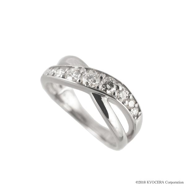 ダイヤモンド ピンキーリング プラチナ 0.30カラット クロス プレゼント 天然石 京セラ