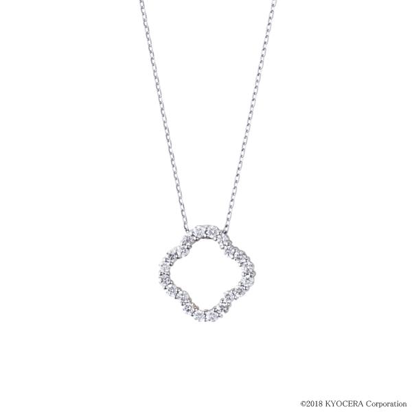 ダイヤモンド ネックレス プラチナ 0.2カラット クローバー プレゼント 天然石 京セラ