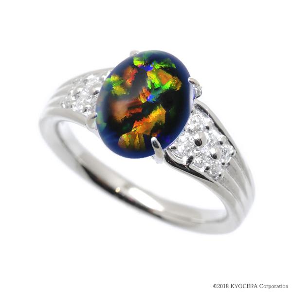 ブラックオパール リング 指輪 プラチナ 10月誕生石 プレゼント クレサンベール 京セラ