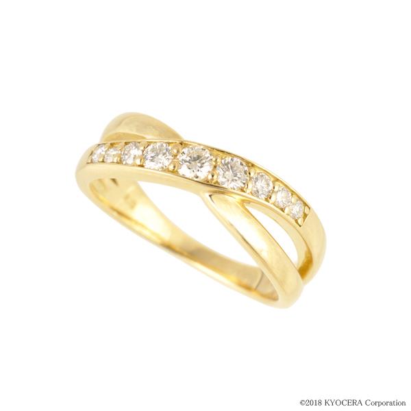 ダイヤモンド リング 指輪 K18イエローゴールド 0.3カラット クロス プレゼント 天然石 京セラ
