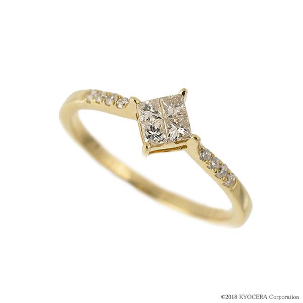 ダイヤモンド リング 指輪 K18イエローゴールド 0.25カラット ミステリーセッティング プレゼント 天然石 京セラ