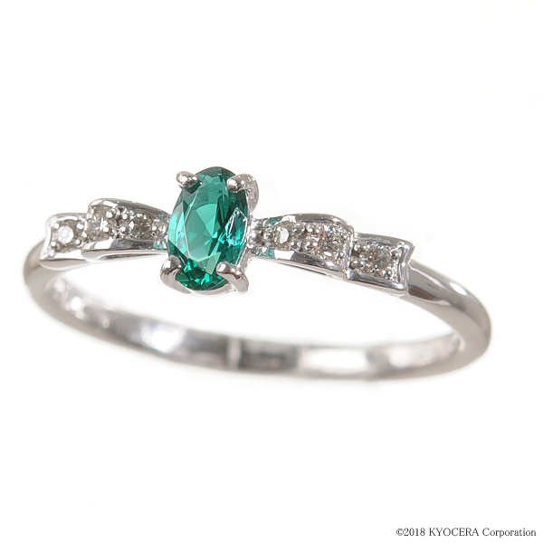 エメラルド リング 指輪 K18ホワイトゴールド オーバル リボン 5月誕生石 プレゼント クレサンベール 京セラ