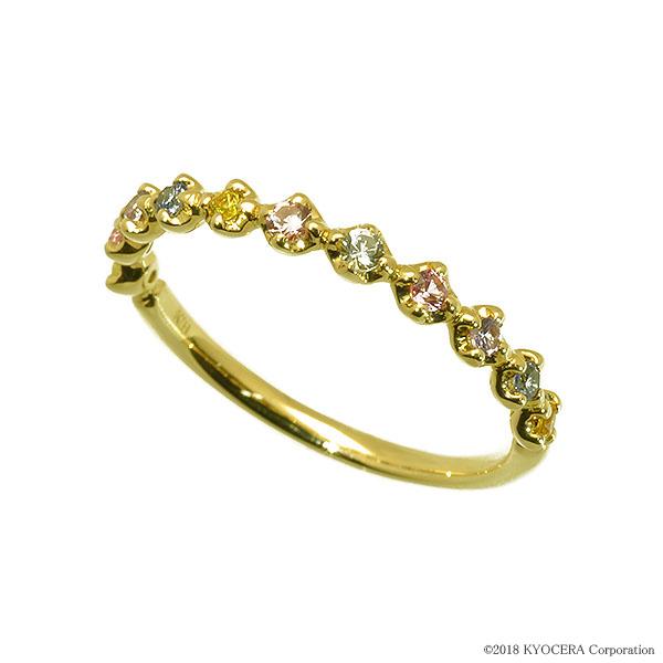 マルチカラーサファイア リング 指輪 K18イエローゴールド 9月誕生石 プレゼント クレサンベール 京セラ