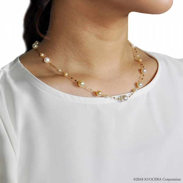 真珠 パール ネックレス K18イエローゴールド アコヤ真珠 白蝶真珠 6月誕生石 プレゼント 京セラ