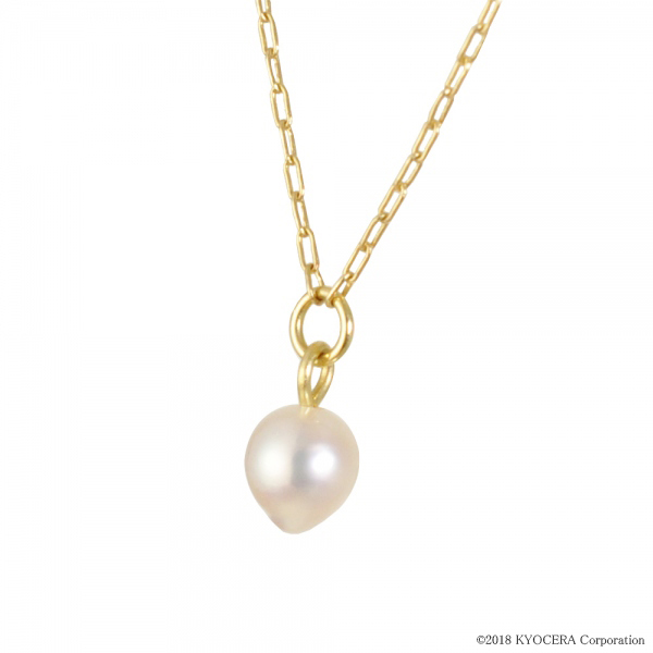 真珠 パール ネックレス K14イエローゴールド アコヤ真珠 3mm ドロップシェイプ 6月誕生石 プレゼント 京セラ