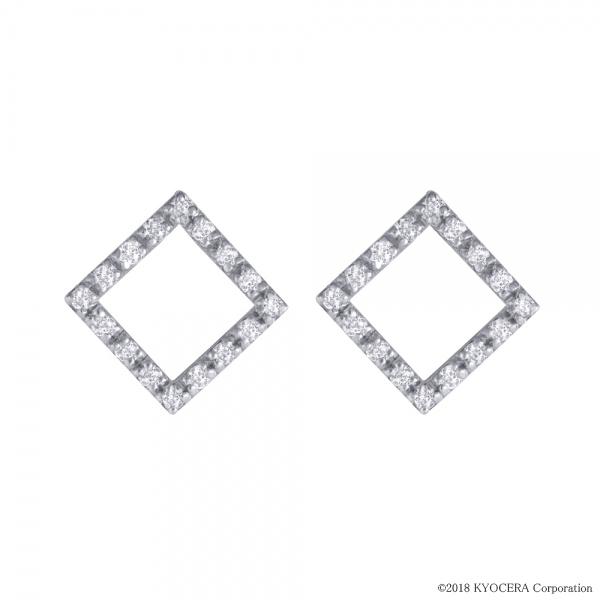 ダイヤモンド ピアス K18ホワイトゴールド 16石 スクエア 4月誕生石 プレゼント 天然石 京セラ