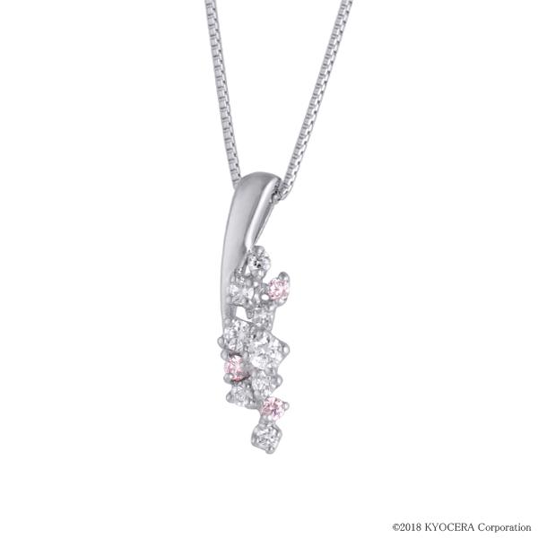 ピンクダイヤモンド ネックレス プラチナ アーガイル フラワー プレゼント 天然石 京セラ