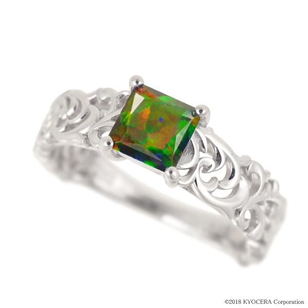 ブラックオパール リング 指輪 K18ホワイトゴールド プリンセスカット アンティーク風 10月誕生石 プレゼント クレサンベール 京セラ