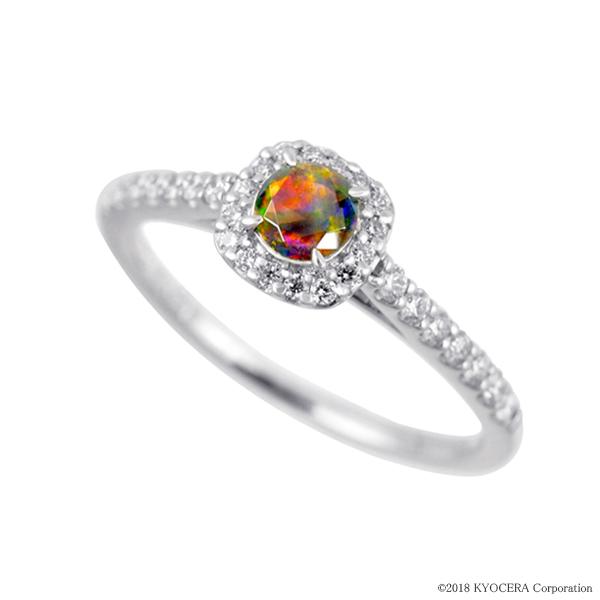 ブラックオパール リング 指輪 プラチナ 一粒 ラウンド 取り巻き 10月誕生石 プレゼント クレサンベール 京セラ