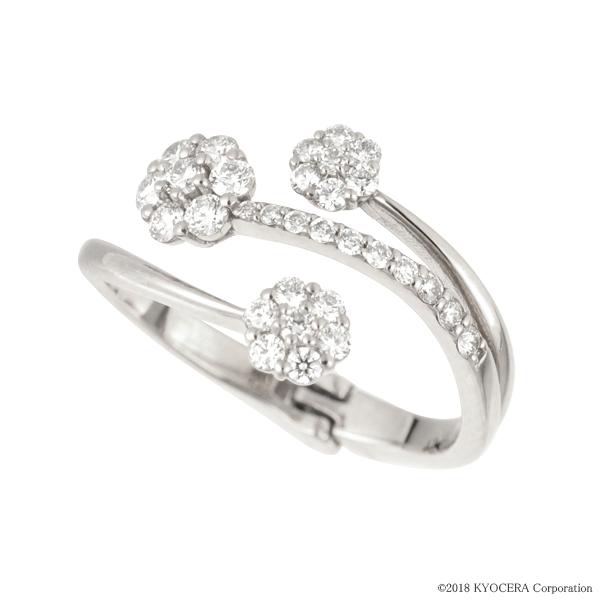 フリーサイズ リング 指輪 ダイヤモンド プラチナ フラワー 0.5カラット 4月誕生石 プレゼント 天然石 京セラ