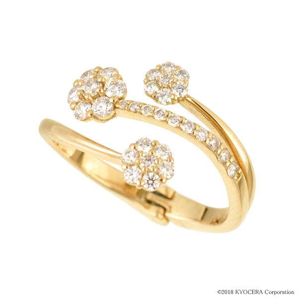 フリーサイズ リング 指輪 ダイヤモンド K18イエローゴールド フラワー 0.5カラット 4月誕生石 プレゼント 天然石 京セラ