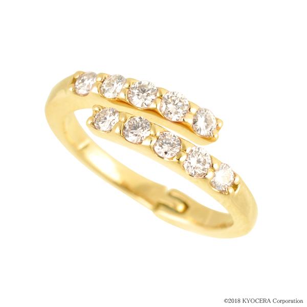 フリーサイズ リング 指輪 ダイヤモンド K18イエローゴールド 10石 0.5カラット 4月誕生石 プレゼント 天然石 京セラ