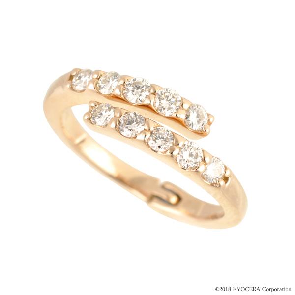 フリーサイズ リング 指輪 ダイヤモンド K18ピンクゴールド 10石 0.5カラット 4月誕生石 プレゼント 天然石 京セラ