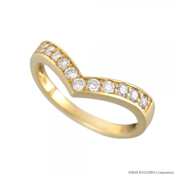 ダイヤモンド リング 指輪 K18イエローゴールド 11石 シャープ 4月誕生石 プレゼント 天然石 京セラ