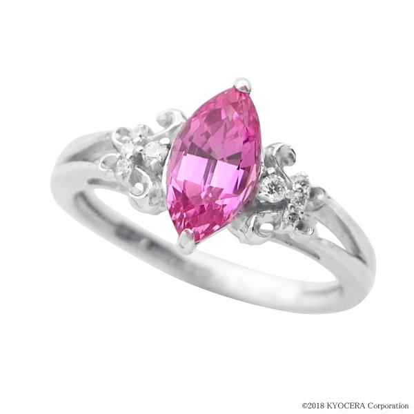 ピンクサファイア リング 指輪 K18イエローゴールド 1.08カラット マーキス フローラル 9月誕生石 プレゼント クレサンベール 京セラ