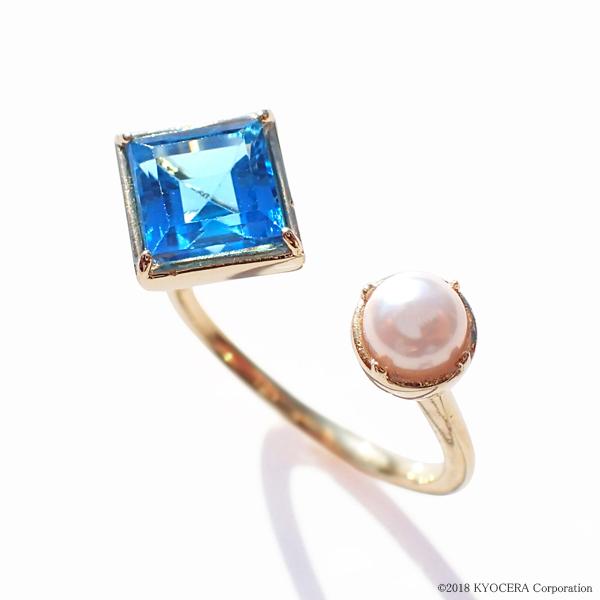 ブルートパーズ 真珠 パール リング 指輪 K18イエローゴールド スクエア アコヤ真珠 11月誕生石 プレゼント 京セラ