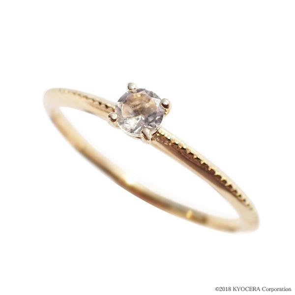 クォーツ リング 指輪 K18イエローゴールド ラウンド ミル打ち パレット プレゼント 天然石 京セラ