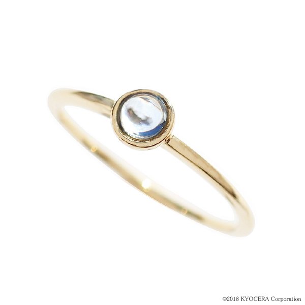 アクアマリン リング 指輪 K18イエローゴールド カボション フクリン留め 3mm パレット 3月誕生石 プレゼント 天然石 京セラ