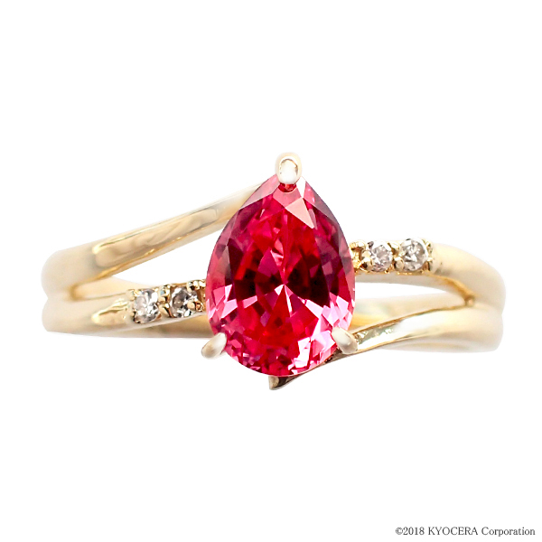 パパラチアサファイア リング 指輪 K18イエローゴールド ペアシェイプ 9月誕生石 プレゼント クレサンベール 京セラ